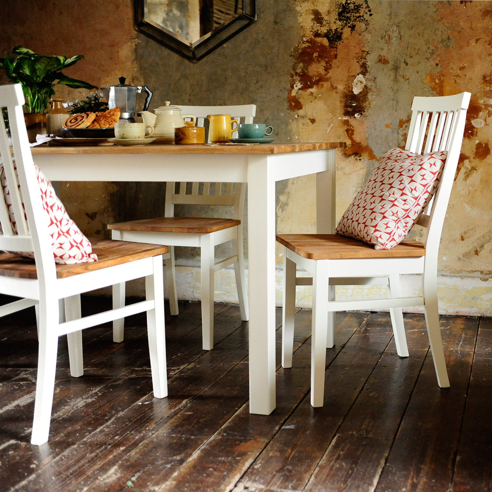 Painted dining furniture, cushions, rustic, modern