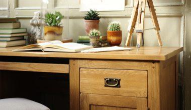 Oak desk, rustic oak, oak office furniture, oak grain, succulents, cacti, closh, oak grain