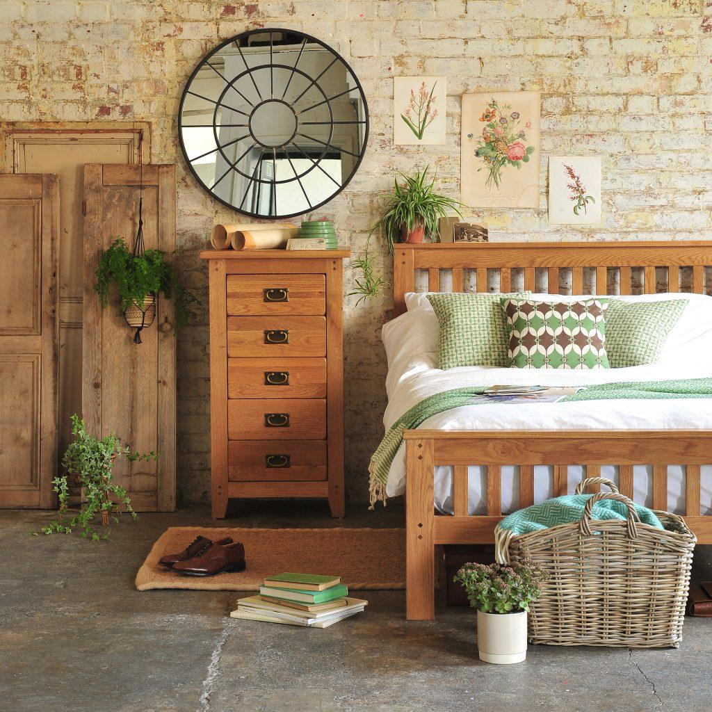 Rustic Oak bedroom furniture, oak furniture, rustic bedroom, exposed brick walls