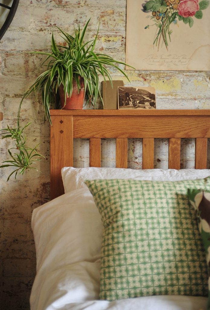 Spider plant, oak furniture, Rustic bedroom furniture, green accessories