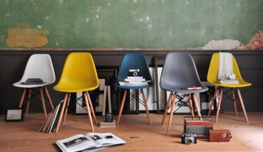 Eames style chairs, group of chairs, wooden floor, green wall, vintage cameras, vintage radios
