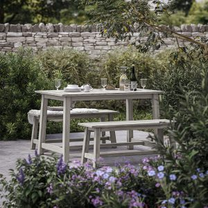 Cotswold Company Baunton Trestle Dining Set, Garden Dining Table and two benches, eucalyptus wood, garden furniture, al fresco dining, How to clean wooden garden furniture, wood garden furniture, weatherproof outdoor furniture