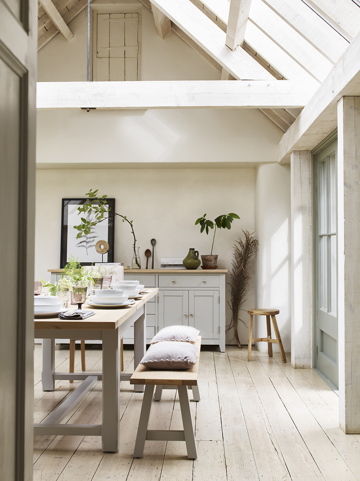 Large Chester Dove Grey trestle table is big enough for experimenting with seasonal tablescapes