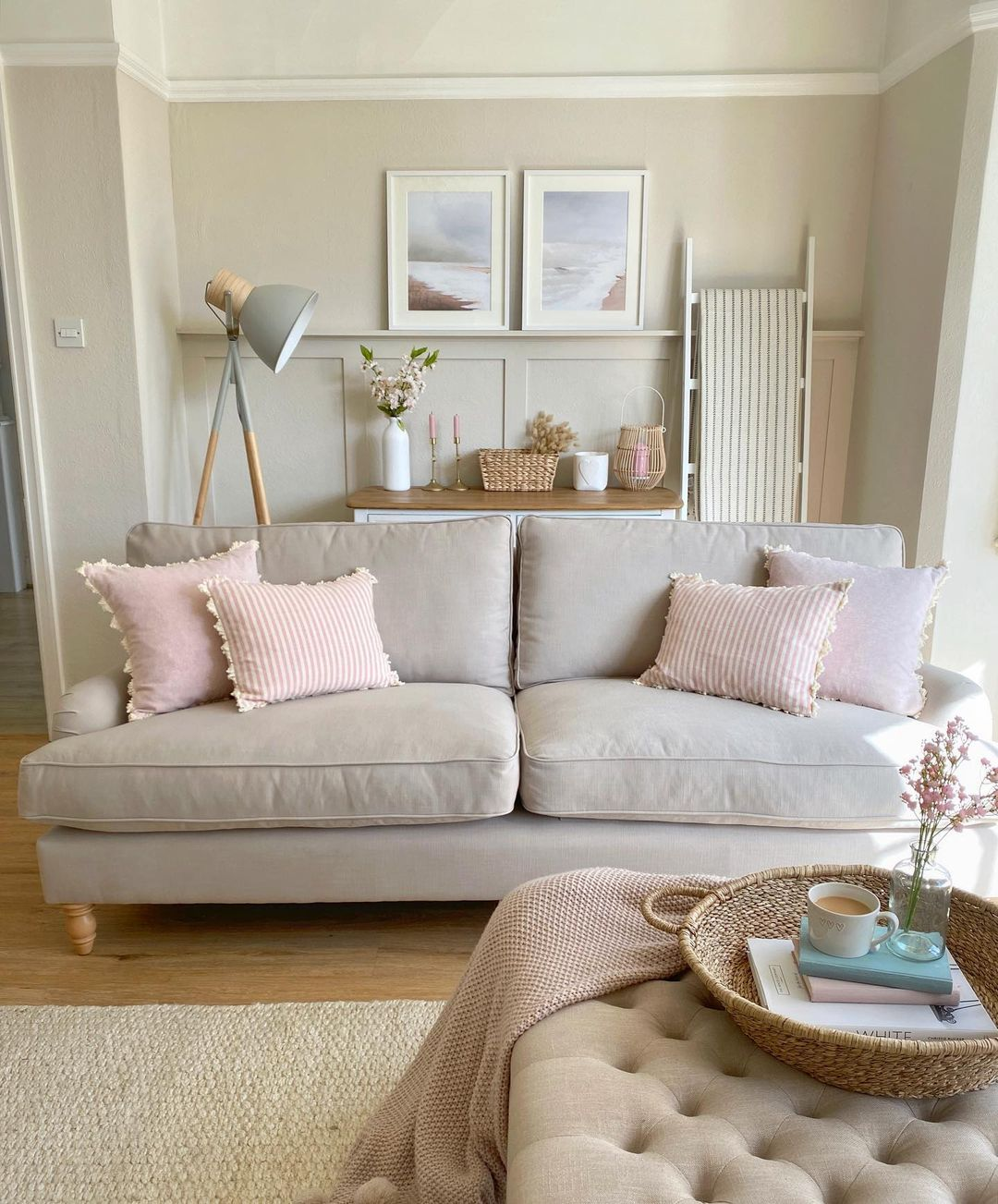 Light fabrics and lots of texture evoke a country, farmhouse feel in Sarah's living room