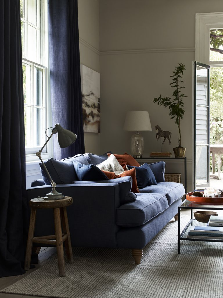 A selection of velvet cushions on our Freeman sofa