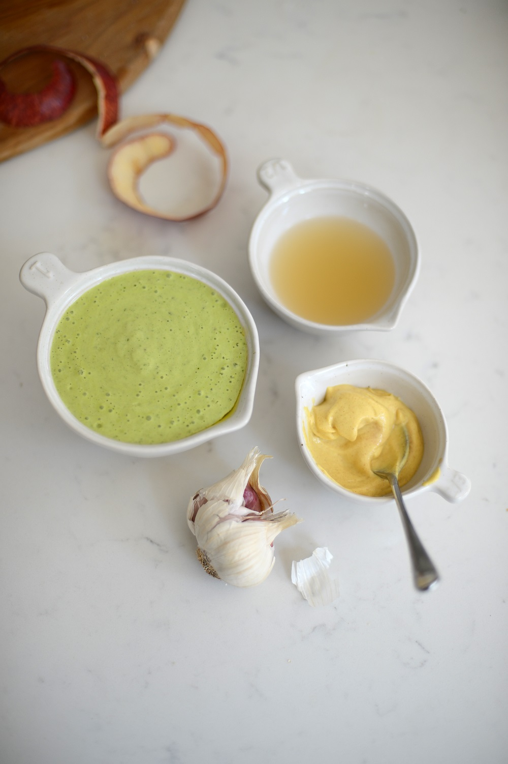 Ceramic mixing bowls being used in autumn recipe